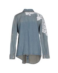 Pinko - Blue Denim Shirt - Lyst