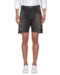 Philipp Plein | Black Denim Bermudas for Men | Lyst