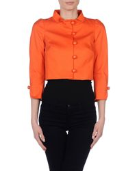 RED Valentino - Orange Cropped Cotton Blazer  - Lyst