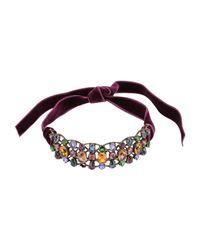Lanvin | Multicolor Crystal & Velvet Choker | Lyst