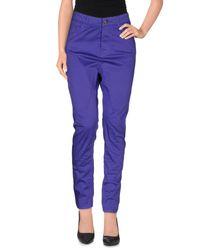 Manila Grace - Purple Casual Trouser - Lyst