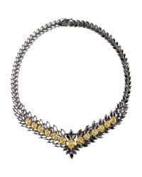Iosselliani - Black Statement Zircon Gunmetal Necklace - Lyst