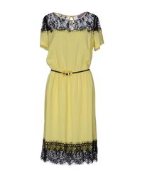 22 Maggio By Maria Grazia Severi - Yellow Knee-length Dress - Lyst
