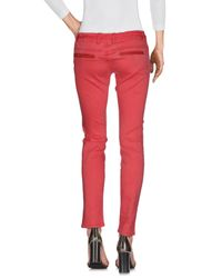 Met - Red Denim Trousers - Lyst
