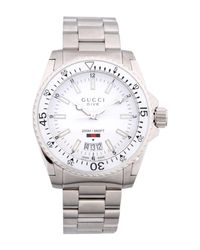 lyst gucci wrist watch in white for men