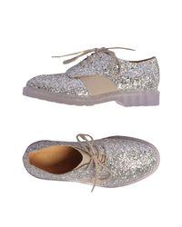 MM6 by Maison Martin Margiela - Metallic Lace-up Shoe - Lyst