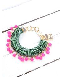 Longshaw Ward - Bracelet In Dark Green/neon Pink - Lyst