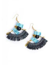 Kirsty Ward - Light Blue & Black Curve Earrings - Lyst