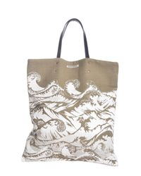 Simeon Farrar | Multicolor Linen Tote Bag With Hand-printed Waves | Lyst