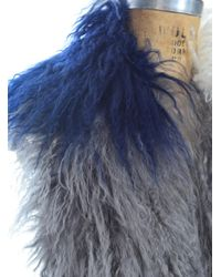 Florence Bridge - Gray Mongolian Shearling Stole In Grey/navy/cream - Lyst