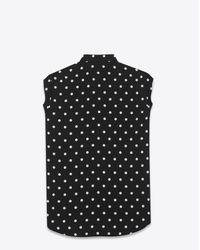 Saint Laurent - Black And White Polka Dot Dylan Collar Sleeveless Shirt - Lyst