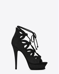 Saint Laurent | Tribute Sixteen 105 Lace-up Sandal In Black Suede | Lyst