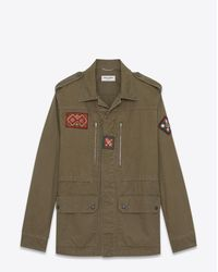 Saint Laurent - Natural Military Parka With Indian Patch In Khaki Gabardine for Men - Lyst
