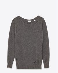 Saint Laurent | Gray Oversized Grunge Crewneck Sweater In Heather Grey Cashmere | Lyst