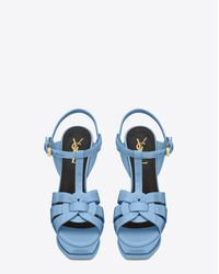 Saint Laurent - Classic Tribute 105 Sandal In Light Blue Patent Leather - Lyst