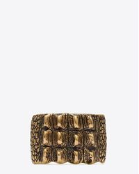 Saint Laurent | Multicolor Animalier Crocodile Cuff In Old Gold-toned Brass | Lyst