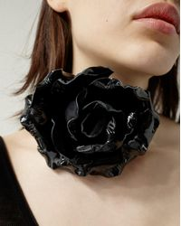 Saint Laurent - Choker In Black Patent Leather Adorned With A Rose - Lyst