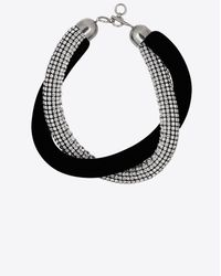 Saint Laurent - Smoking Twisted Choker In Black Velvet And Crystals - Lyst