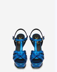 Saint Laurent - Tribute 105 Sandal In Metallic Blue Cracked Leather - Lyst