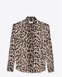 Saint Laurent | Natural Classic Shirt In Beige And Grey Leopard Printed Silk Crêpe | Lyst