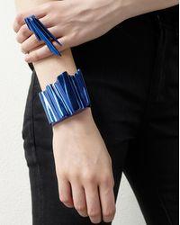 Saint Laurent - Babylone Cuff In Metallic Blue Brass - Lyst