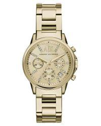 Armani Exchange   Metallic Women's Crystal Chronograph Date Bracelet Strap Watch   Lyst
