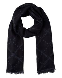 BOSS Green | Black Patterned Scarf In Wool Blend With Modal: 'c-calso' for Men | Lyst