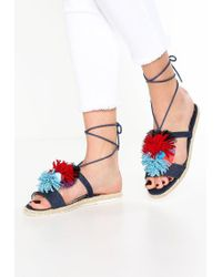 Missguided | Blue Navy Denim Pom Pom Flat Sandals | Lyst