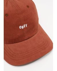 Obey   Red Jumble Bar Panel Cap for Men   Lyst