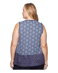 Lucky Brand - Blue Plus Size Mix Print Peplum Top - Lyst