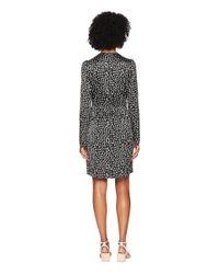 Sonia Rykiel - Gray Satin Jacquard Short Sleeve Dress - Lyst