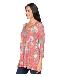 Nally & Millie - 3/4 Sleeve Red Multi Floral Tunic (multi) Women's Blouse - Lyst
