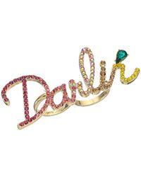 Betsey Johnson - Multicolor Pave Darlin Ring - Lyst
