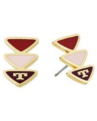 Tory Burch | Metallic Geo Triangle Stud Earrings | Lyst