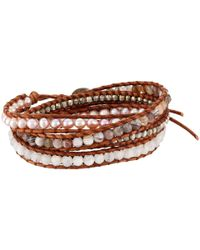 Chan Luu - Multicolor Sterling Silver 5 Wrap Bracelet On Leather With Nuggets, Semi Precious Stones And Fresh Water Pearls - Lyst