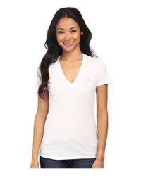 Lacoste - White Short Sleeve Cotton Jersey V-neck Tee Shirt - Lyst