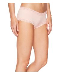 Hanky Panky - Pink Organic Cotton Boyshort W/ Lace (black) Women's Underwear - Lyst