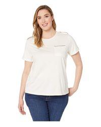 Lauren by Ralph Lauren White Plus Size Cotton-blend Pocket Tee