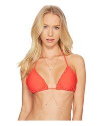 Luli Fama - Red Cosita Buena Wavey Triangle Bikini Top - Lyst