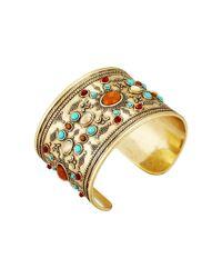 Lucky Brand - Metallic Beaded Statement Cuff Bracelet - Lyst