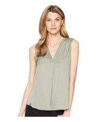Vince Camuto - Green Sleeveless V-neck Rumple Blouse - Lyst