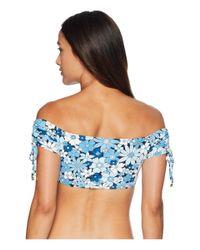 MICHAEL Michael Kors - Blue Cherry Summer Flower Off The Shoulder Bandeau Bikini Top W/ Removable Soft Cups (new Navy) Women's Swimwear - Lyst