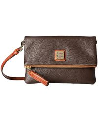 Dooney & Bourke - Brown Pebble Fold-over Zip Crossbody - Lyst