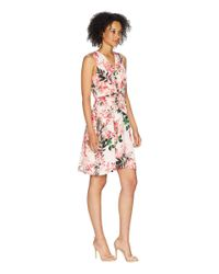 Calvin Klein - Multicolor V-neck Floral Dress With Tie Front Cd8e31mb (watermelon Multi) Women's Dress - Lyst