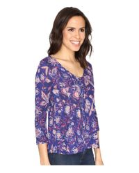 Lucky Brand Purple Floral Swing Top