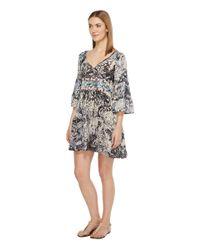 Brigitte Bailey - Blue Mahalia Printed V-neck Dress - Lyst