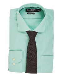 Lauren by Ralph Lauren Green Non Iron Poplin Stretch Slim Fit Spread Collar Dress Shirt (kelly/white) Clothing for men
