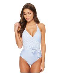 Vince Camuto - Blue Sailor Stripe V-neck Wrap Tie One-piece Swimsuit W/ Removable Soft Cups - Lyst