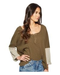 Free People - Green Star Henley (army) Women's Long Sleeve Pullover - Lyst