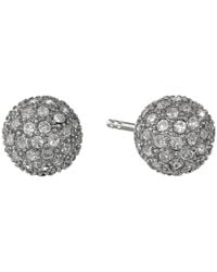 Fossil - Metallic Pave Ball Studs Earrings - Lyst